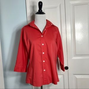 J. Crew 3/4 Sleeve Fitted Button Down Top Size 10